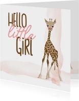 Felicitatie - hello little girl giraf