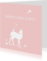 Felicitatie - Hert, meisje, roze