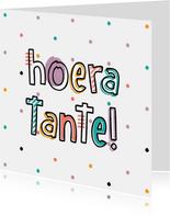 Felicitatie hoera tante hip met confetti