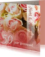 Felicitatie Hout rozen en veer jubileum
