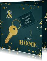 Felicitatie huis gekocht met sleutel en label