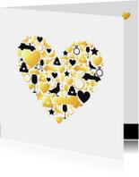 Felicitatie - Huwelijk silhouet hart met goud