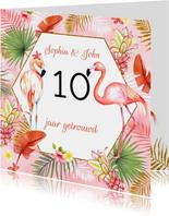 Felicitatie huwelijksjubileum flamingostel
