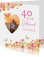 Felicitatie huwelijksjubileum rozen aquarel