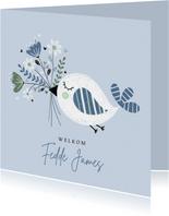 Felicitatie jongen vogel bloemen blauw