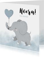 Felicitatie jongetje geboren met olifantje en waterverf