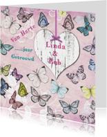 Felicitatiekaarten - Felicitatie jubileum vlinders vintage