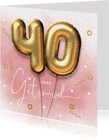 Felicitatie kaart 40 jarig huwelijk ballonnen