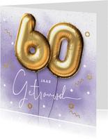 Felicitatie kaart 60 jarig huwelijk ballonnen