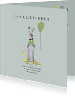 Felicitatie kaart hond met ballon blauw