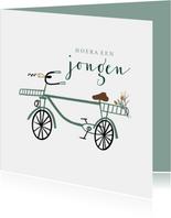 Felicitatie kaart jongen hip groen fietsje