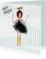 Felicitatie kaart met meisje met vogel op haar hoofd