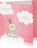 Felicitatie kaartje lief prinsesje wolken en hartjes