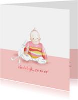 Felicitatie - klein meisje met konijntje