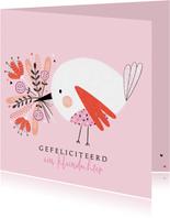 Felicitatie kleindochter vogel bloemen
