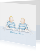 Felicitatie - Kleine jongens met konijntjes