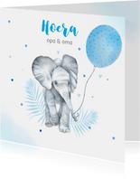Felicitatie kleinkind jongen olifantje ballon