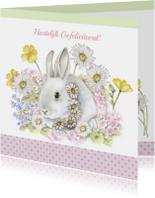 Felicitatie konijn met bloemen