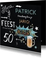 Felicitatie krijtbord bier