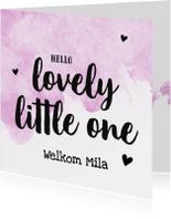 Felicitatie - lovely little one met naam roze