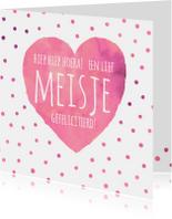 Felicitatie meisje roze hart