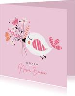 Felicitatie meisje vogel bloemen roze