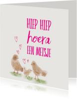 Felicitatie Meisje vogeltjes