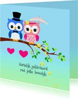 Felicitatie met uilen-echtpaar
