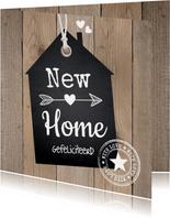 Felicitatie nieuwe woning hout label