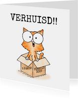 Felicitatie nieuwe woning - kitten in verhuisdoos