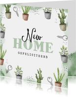 Felicitatie nieuwe woning planten sleutels waterverf groen