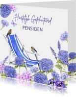 Felicitatie pensioen ligstoel vogels