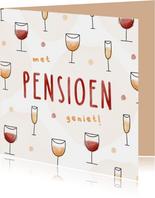 Felicitatie pensioen met patroon van wijn en champagne