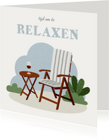 Felicitatie pensioen met tuinstoel tijd om te relaxen