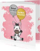 Felicitatiekaarten - Felicitatie roze kaartje met een illustratie van een zebra
