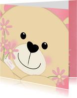 Felicitatie schattig kaartje met een lief beertje en bloemen