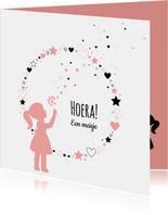 Felicitatie - Silhouet meisje, cirkel van hartjes en sterren