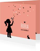 Felicitatie - Silhouet meisje met bloem