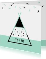 Felicitatiekaarten - Felicitatie - Tipi met driehoekjes en veren