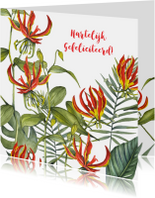 Felicitatie tropische bloemen