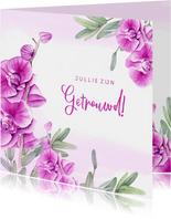 Felicitatie trouwen orchidee