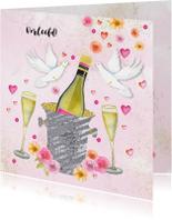 Felicitatie trouwkaart champagne