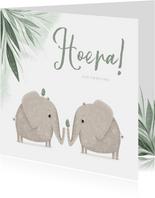 Felicitatie tweeling groen jungle olifantjes met vogels