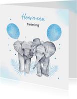 Felicitatie tweeling jongetjes olifantjes ballon