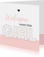 Felicitatie - Typografisch met roze