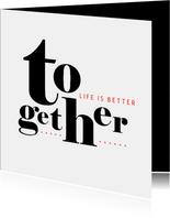 Felicitatie typografisch samenwonen trouwen