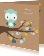 Felicitatie - Uiltje in hartjesboom jongen
