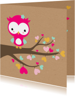 Felicitatiekaarten - Felicitatie - Uiltje in hartjesboom meisje