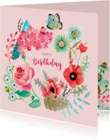 Felicitatie Verjaardag Bloemen krans