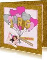 Felicitatie verjaardagskaart glitter en glamour en ballonnen